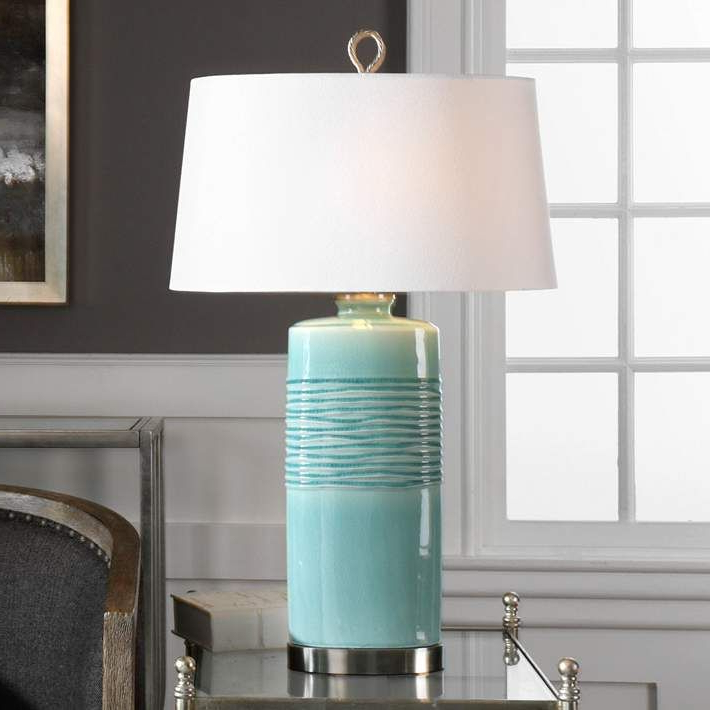 Well Liked Marina Way Bronze 2 – Bulb Outdoor Barn Lights In Uttermost Rila Distressed Teal Ceramic Table Lamp – #32p (View 11 of 20)