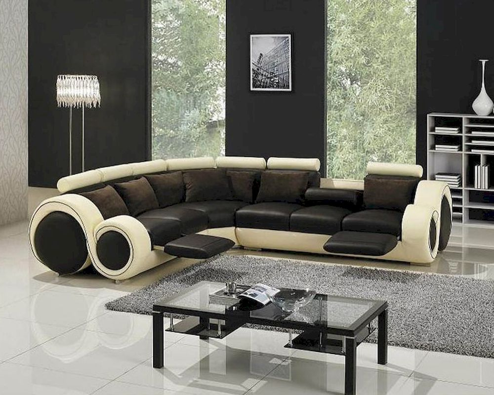 Well Liked Modern Two Tone Leather Sectional Sofa Set With Recliners With 3pc Ledgemere Modern Sectional Sofas (View 6 of 20)