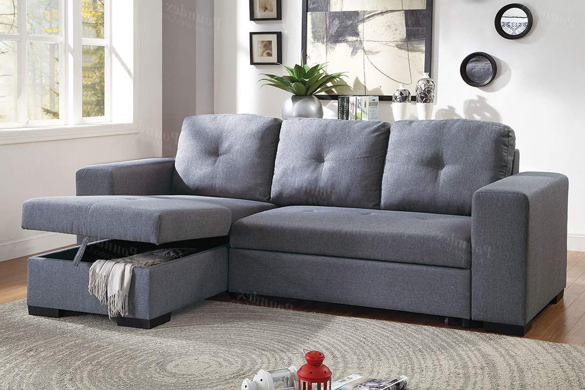 Well Liked Molnar Upholstered Sectional Sofas Blue/gray Within Blue Grey Polyfiber Convertible Sectional Couch Sofa Bed (View 5 of 20)