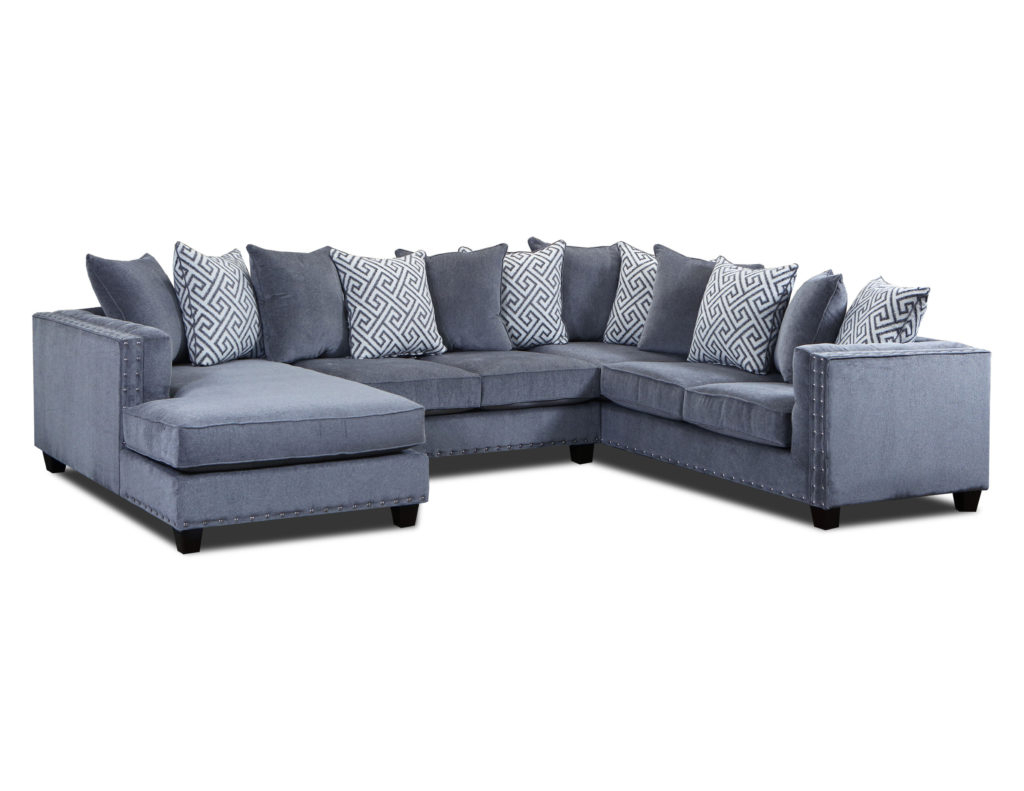 Well Liked Moonstruck Grey 3 Pc Sectional – Cleo's Furniture With 3pc Polyfiber Sectional Sofas With Nail Head Trim Blue/gray (View 9 of 20)