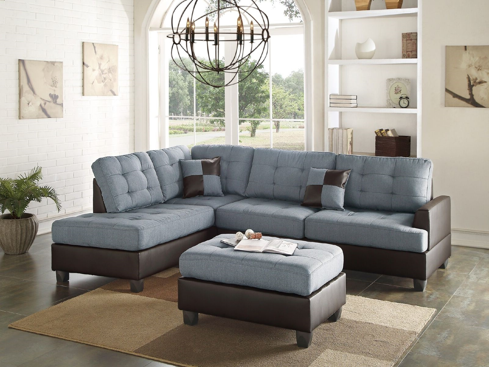 Well Liked Sectional Sofas In Gray Pertaining To Mathew Sectional Sofa Set Contemporary Grey Linen Like (View 1 of 20)