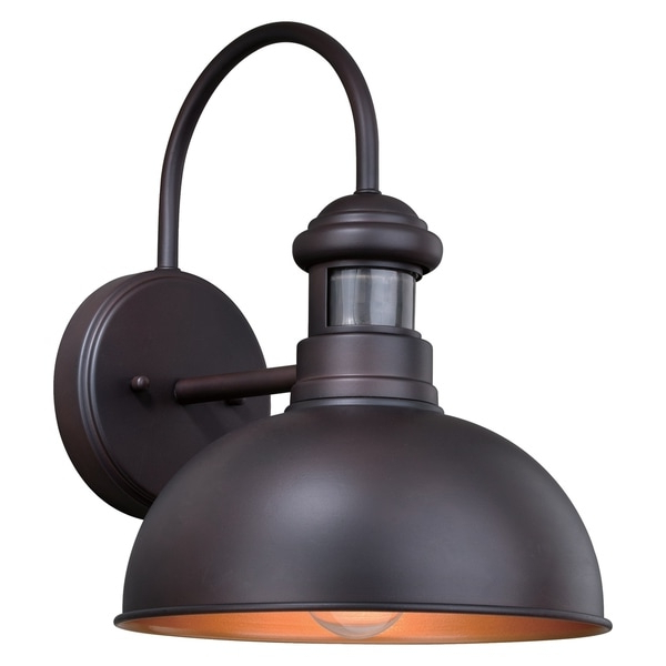 Well Liked Shop Franklin Bronze Motion Sensor Dusk To Dawn Farmhouse With Regard To Ranbir Oil Burnished Bronze Outdoor Barn Lights With Dusk To Dawn (View 4 of 20)