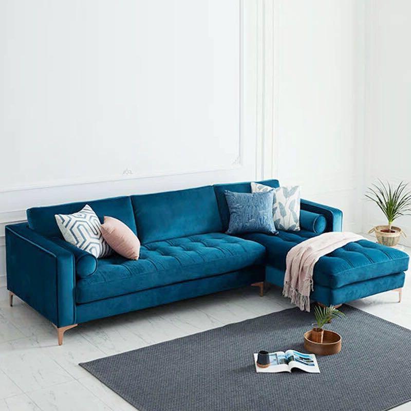 Well Liked Strummer Velvet Sectional Sofas In Levi Blue Velvet Corner Sectional Sofa – 120 Inches Left (View 8 of 20)