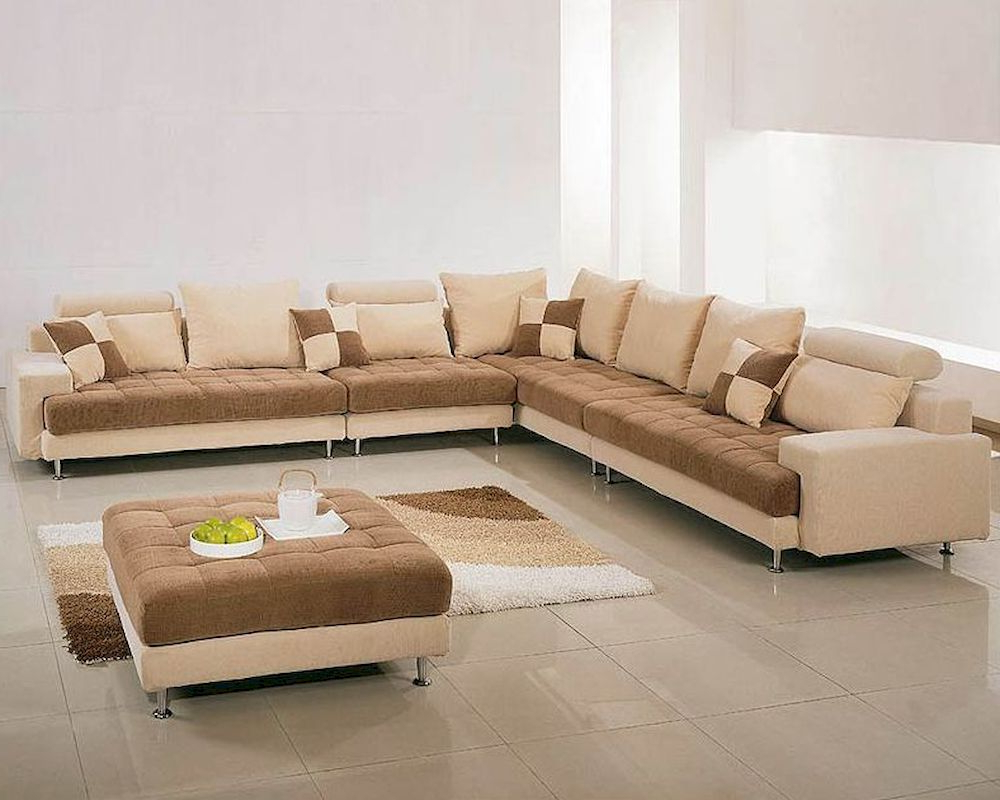 Well Liked Two Tone Fabric Contemporary Sectional Sofa Set 44lg60b Inside Mireille Modern And Contemporary Fabric Upholstered Sectional Sofas (View 2 of 20)