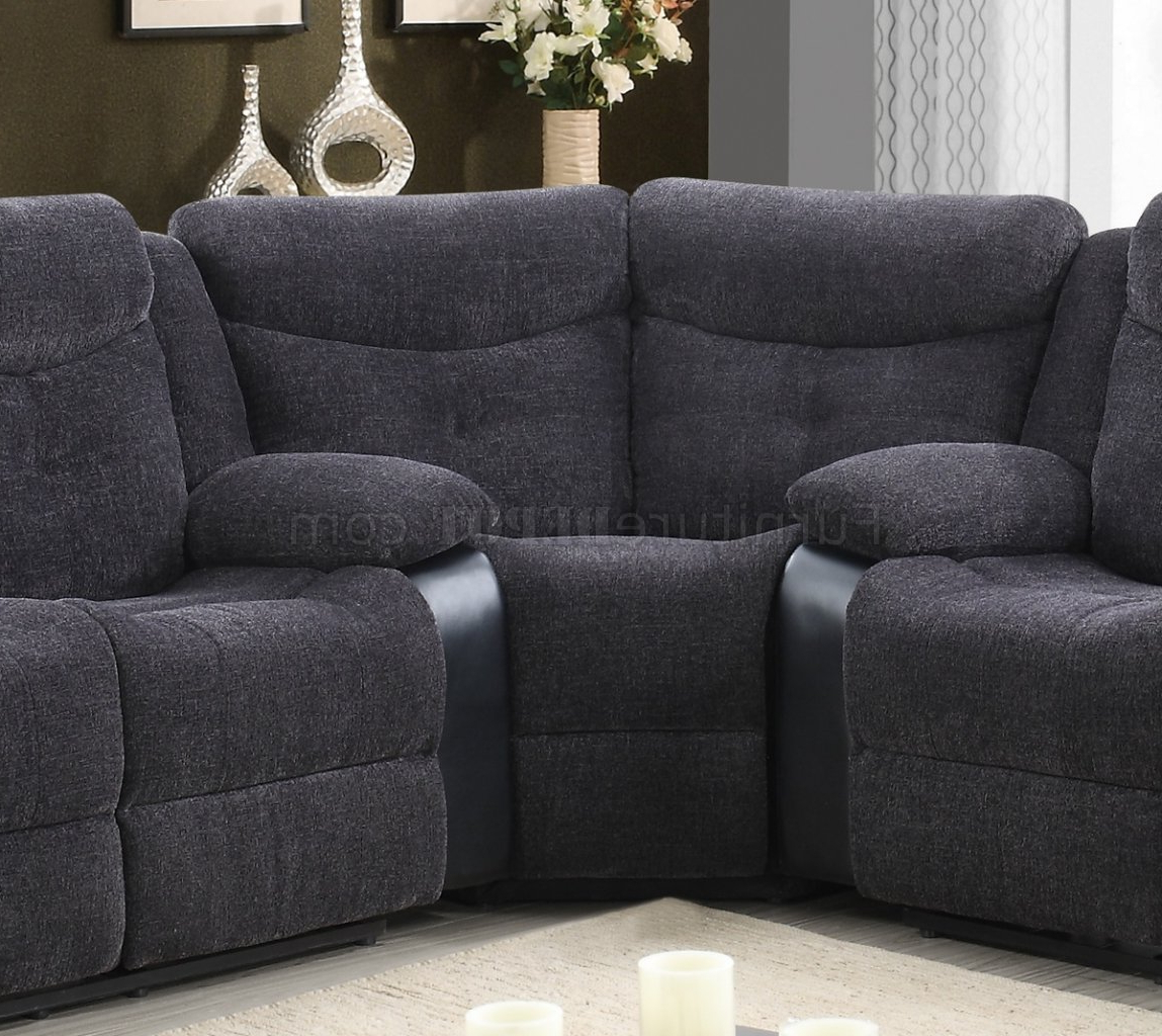 Well Liked U1566 Motion Sectional Sofa Dark Grey Fabric & Black Pu Within Sectional Sofas In Gray (View 15 of 20)