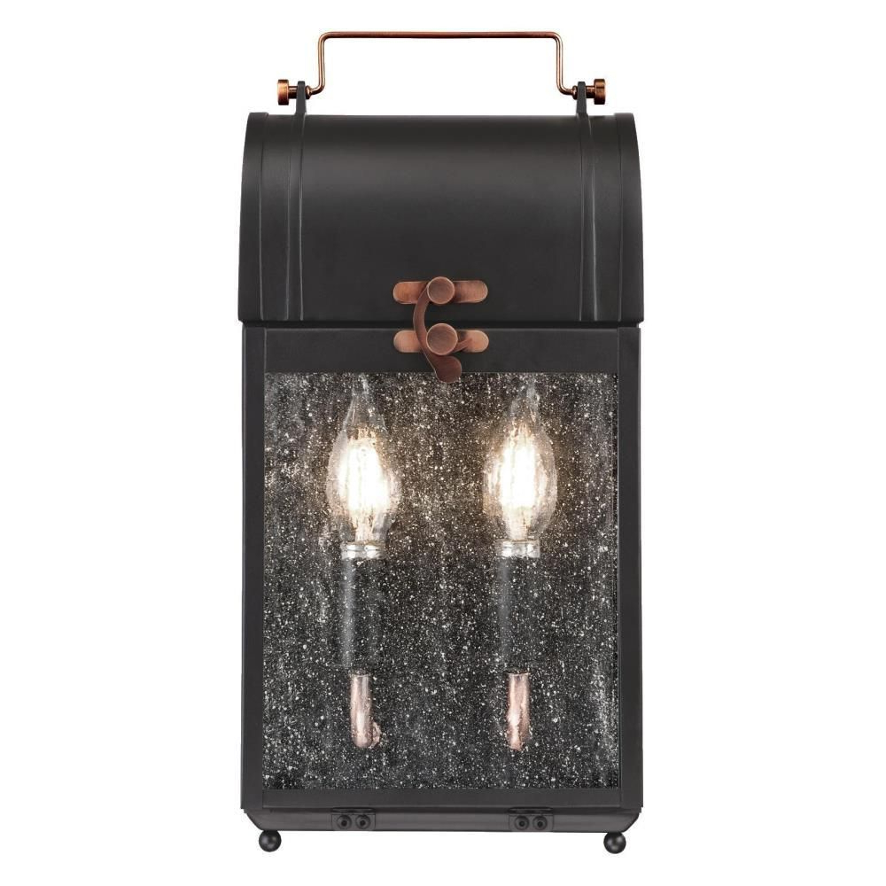 Westinghouse Mulberry 2 Light Matte Black With Washed Throughout Widely Used Sheard Textured Black 2 – Bulb Wall Lanterns (View 17 of 20)