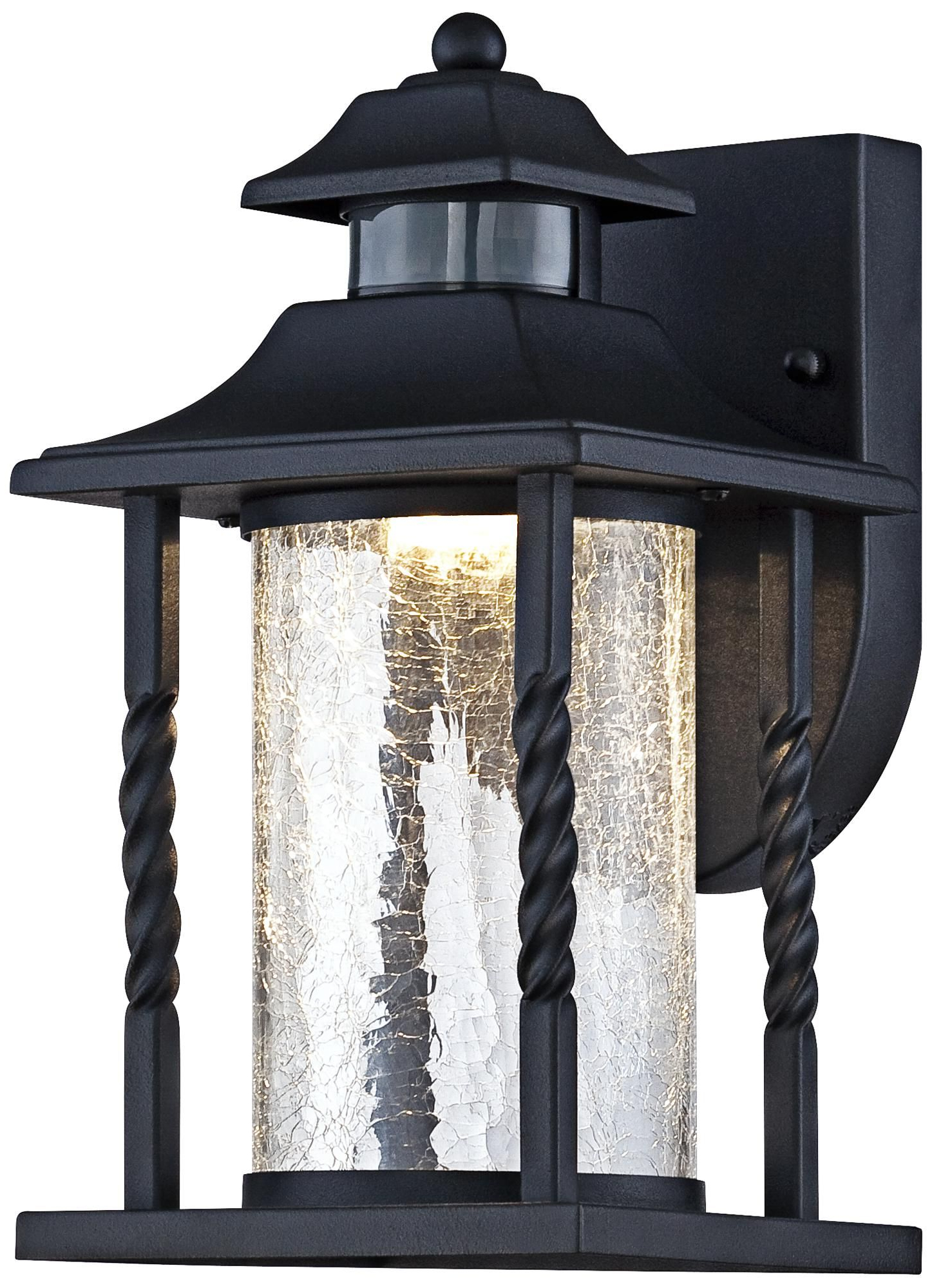 """Westray 11 1/2""""h Black Motion Sensor Led Outdoor Wall Within Well Known Chicopee 2 – Bulb Glass Outdoor Wall Lanterns (View 3 of 20)"""