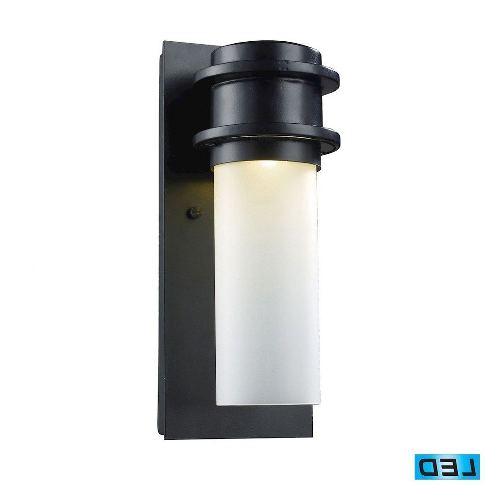 Whisnant Black Integrated Led Frosted Glass Outdoor Flush Mount In Favorite Cylinder 12 Inch 5w 1 Led Outdoor Flush Mount Wall Lantern (View 2 of 20)