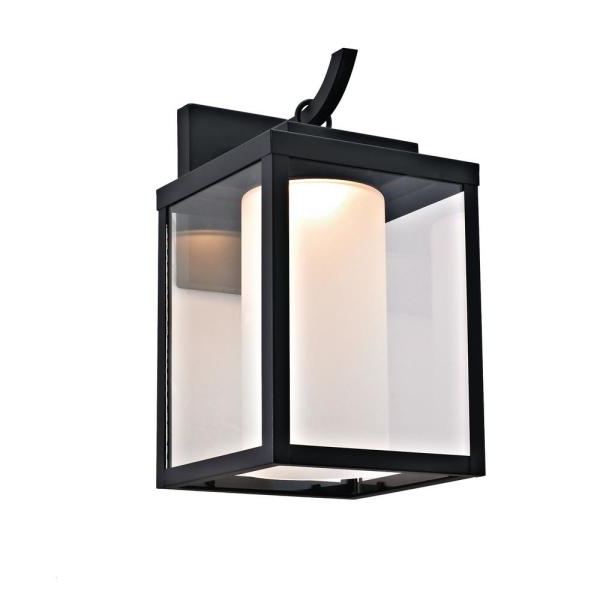 Whisnant Black Integrated Led Frosted Glass Outdoor Flush Mount Regarding 2019 Addington Park Integrated Led Outdoor Wall Sconce With (View 14 of 20)