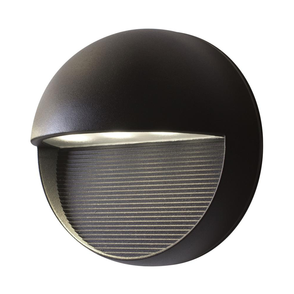 Whisnant Black Integrated Led Frosted Glass Outdoor Flush Mount Within Most Recent Bazz Exil 1 Light Black Outdoor Integrated Led Wall Mount (View 11 of 20)