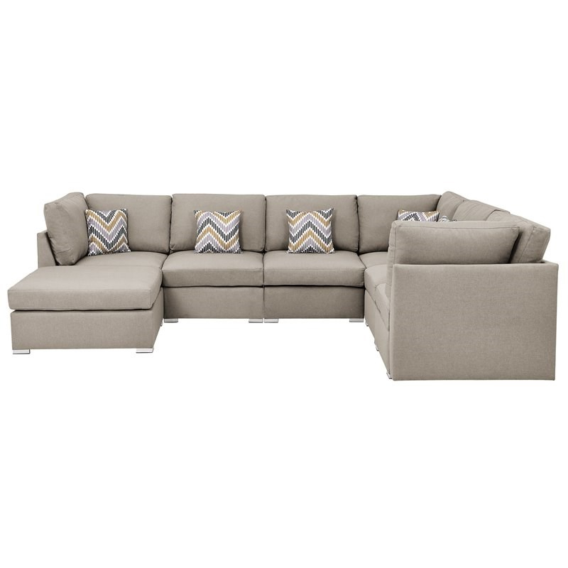 Widely Used Amira Beige Fabric Reversible Modular Sectional Sofa With Regarding Clifton Reversible Sectional Sofas With Pillows (View 11 of 20)