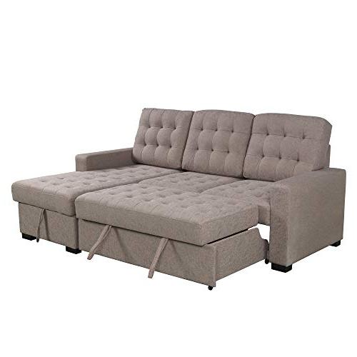 Widely Used Artisan Beige Sofas Regarding Yishen U Style Upholstery Sleeper Sectional Sofa Beige (View 17 of 20)