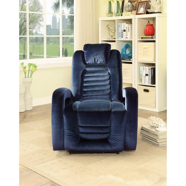 Widely Used Colby Manual Reclining Sofas Inside Shop Acme Benjamin Blue Velvet Power Recliner With Usb (View 18 of 20)