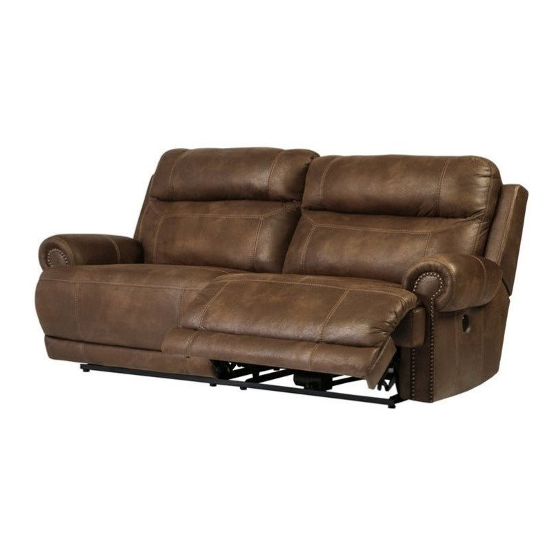 Widely Used Expedition Brown Power Reclining Sofas Regarding Ashley Austere 2 Seat Faux Leather Power Reclining Sofa In (View 14 of 20)