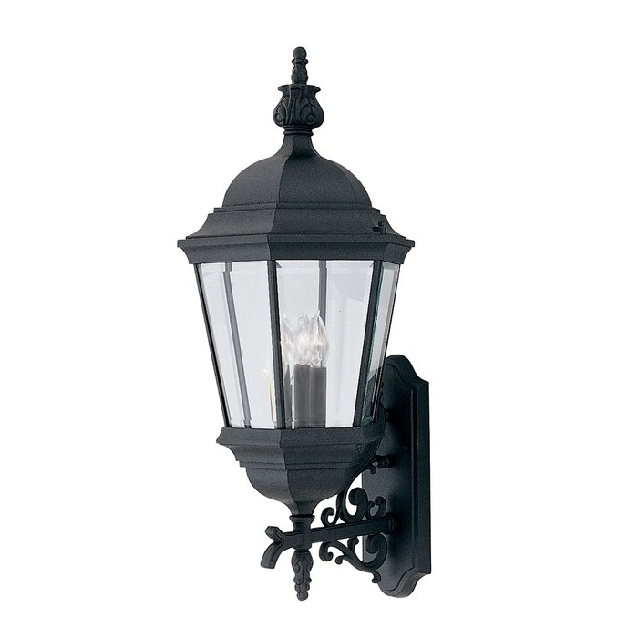 Widely Used Gillian 3 – Bulb Beveled Glass Outdoor Wall Lanterns With Regard To Charlton Home® Slusser Black 3 – Bulb  (View 4 of 20)
