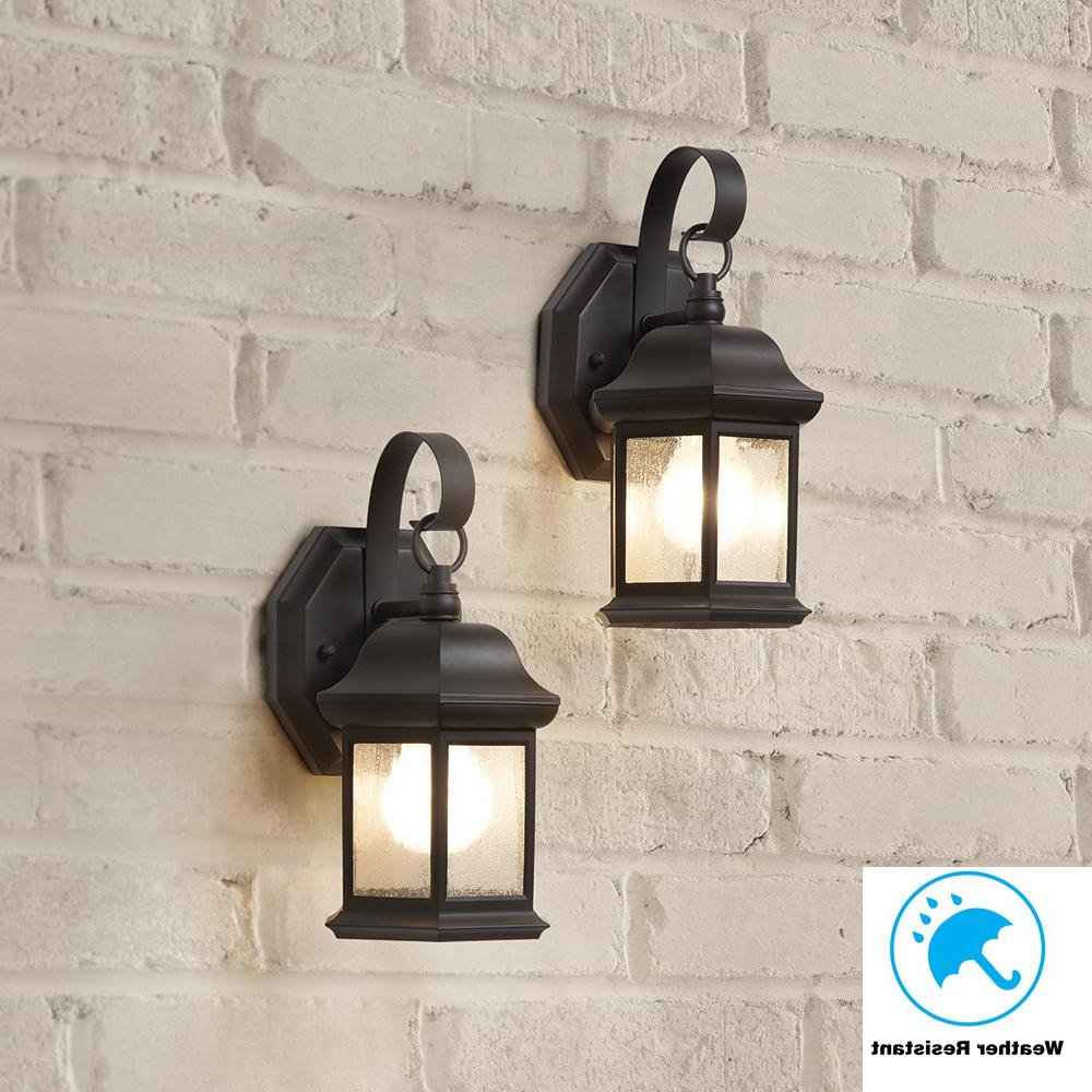 Widely Used Hampton Bay 1 Light Bronze Outdoor Wall Mount Lantern With With Robertson 2 – Bulb Seeded Glass Outdoor Wall Lanterns (View 19 of 20)