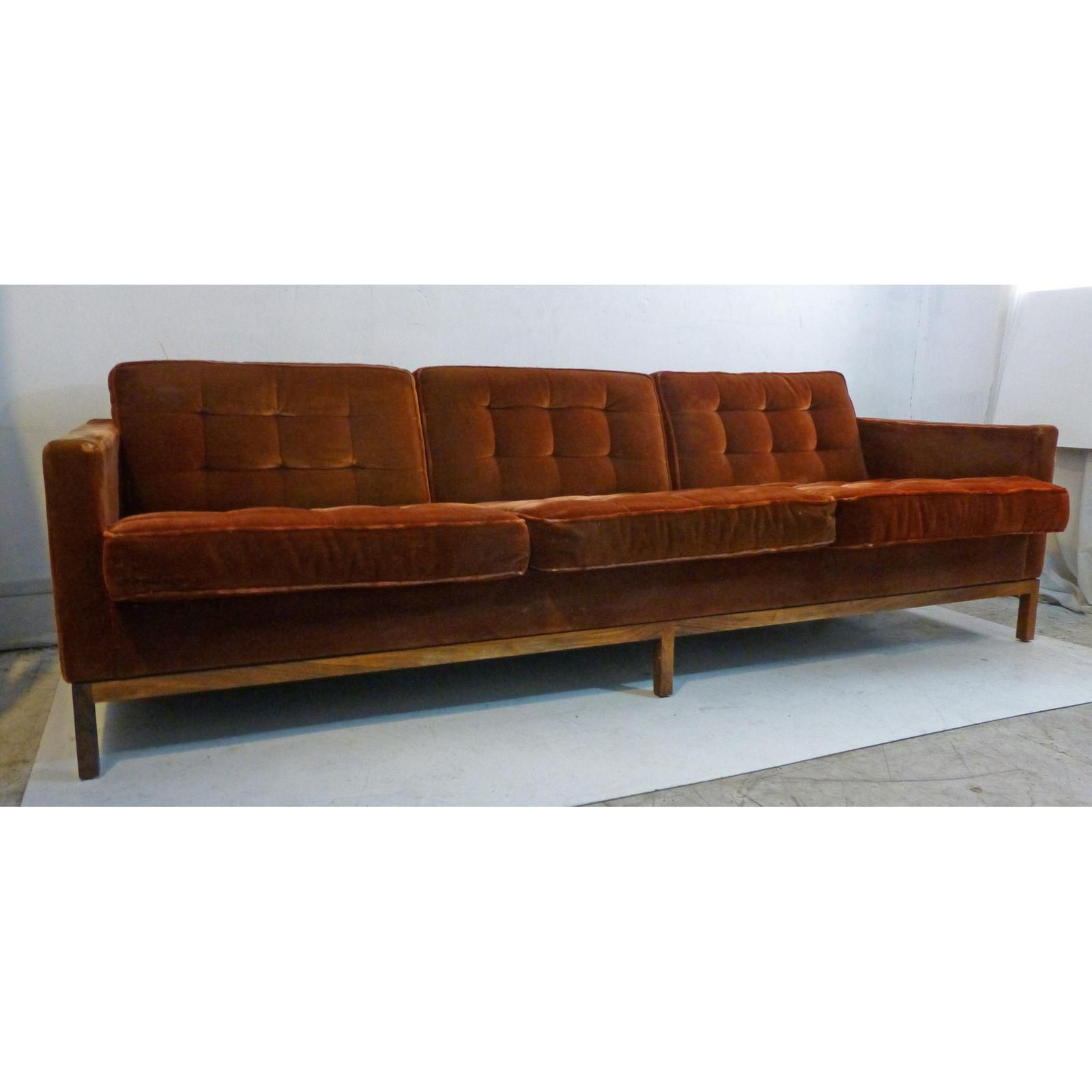 Widely Used Image Of Vintage Florence Knoll Rosewood Base & Mohair Pertaining To Florence Mid Century Modern Velvet Right Sectional Sofas (View 5 of 20)
