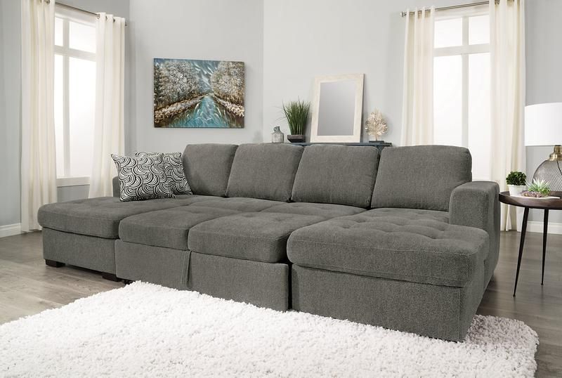 Widely Used Live It Cozy Sectional Sofa Beds With Storage Inside Izzy 3 Piece Chenille Sleeper Sectional With 2 Chaises (View 4 of 20)