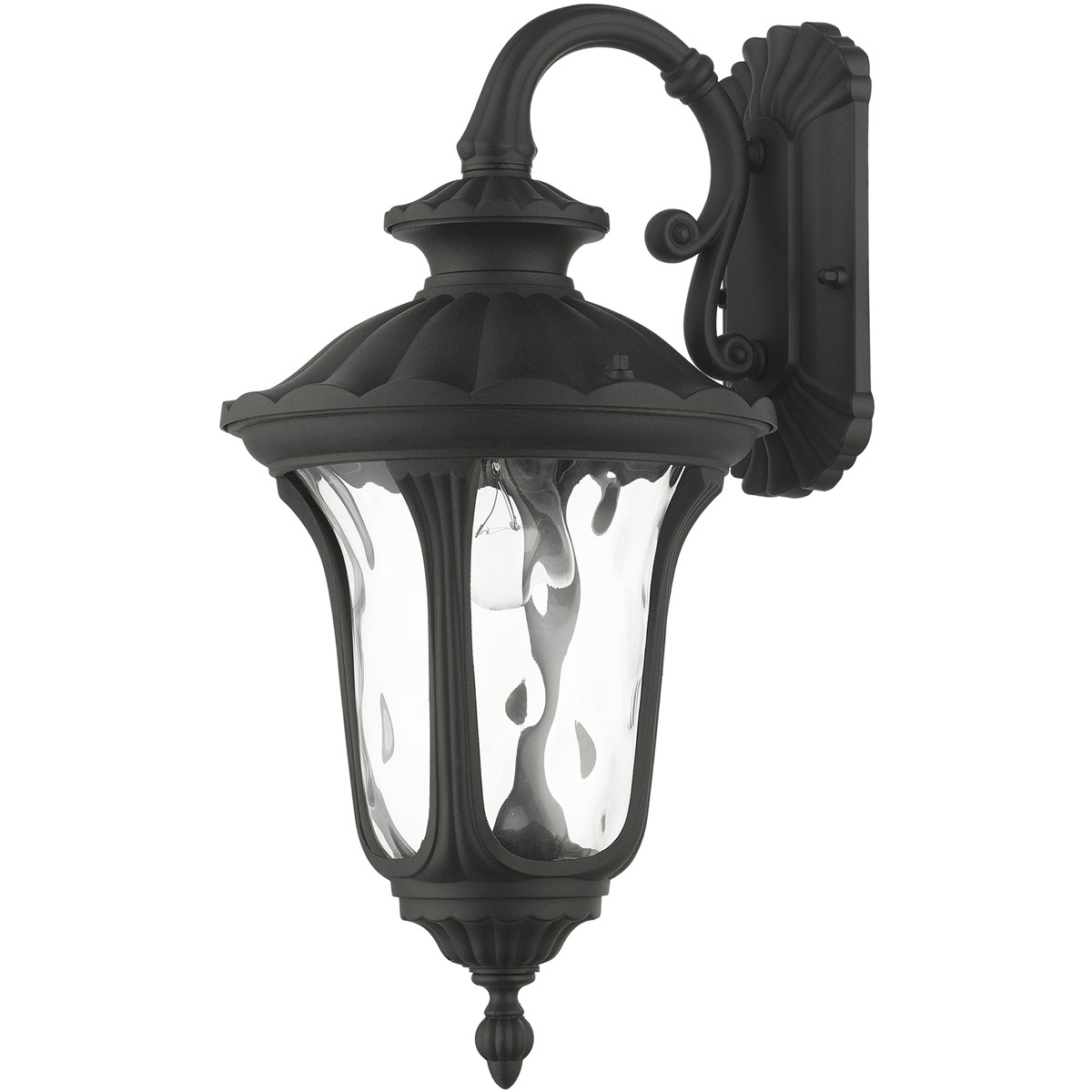 Widely Used Livex 7851 14 Oxford 1 Light 16 Inch Textured Black Regarding Brook Black Seeded Glass Outdoor Wall Lanterns With Dusk To Dawn (View 17 of 20)