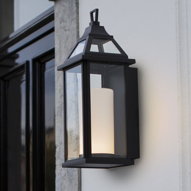 Widely Used Lutec Hom 16w Coach Lantern Exterior Led Wall Light In Black With Regard To Garneau Black Wall Lanterns (View 4 of 20)