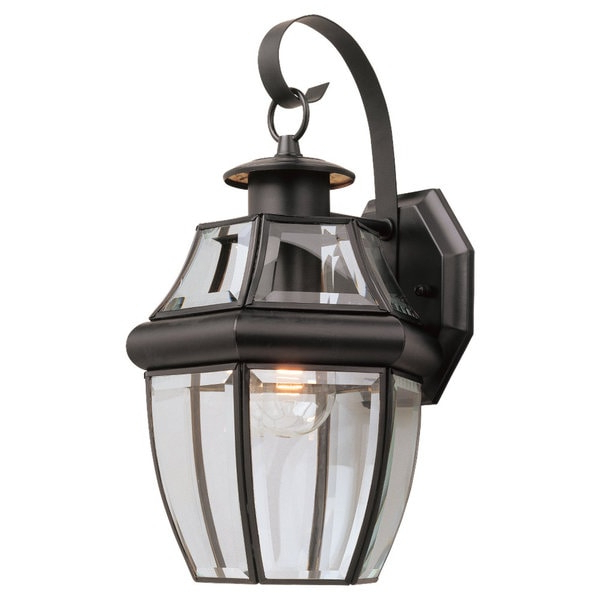 Widely Used Meunier Glass Outdoor Wall Lanterns With Regard To Shop Sea Gull Lighting Lancaster 1 Light Black Outdoor (View 19 of 20)