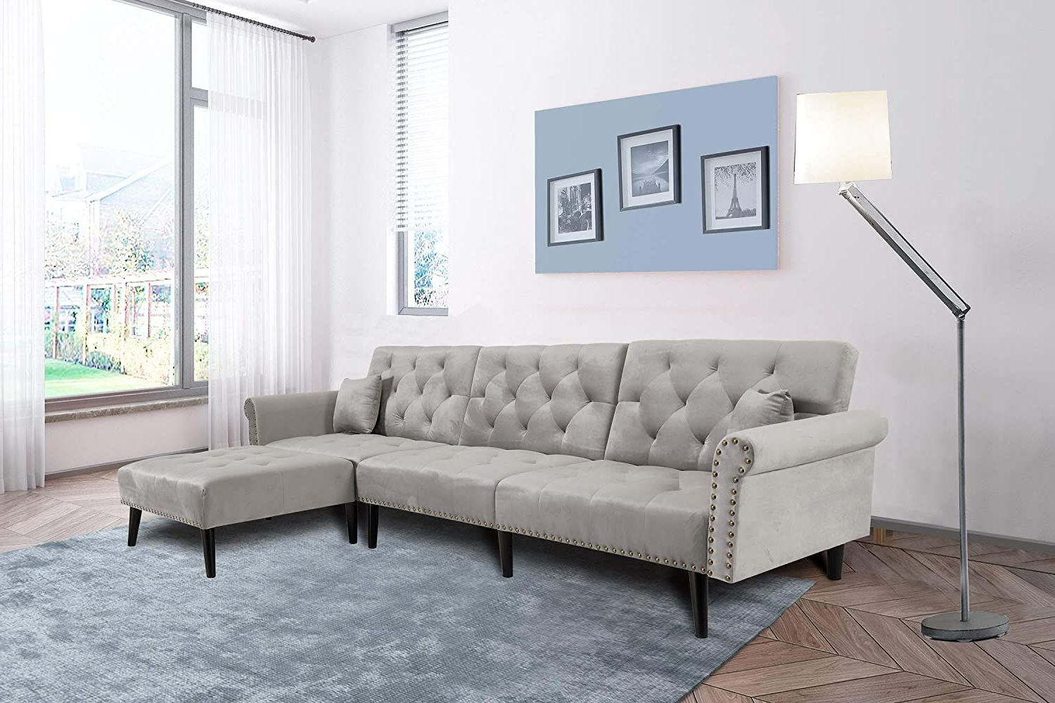 Widely Used Mid Century Upholstered Convertible Sectional Sofa Futon Throughout Dulce Mid Century Chaise Sofas Light Gray (View 18 of 20)
