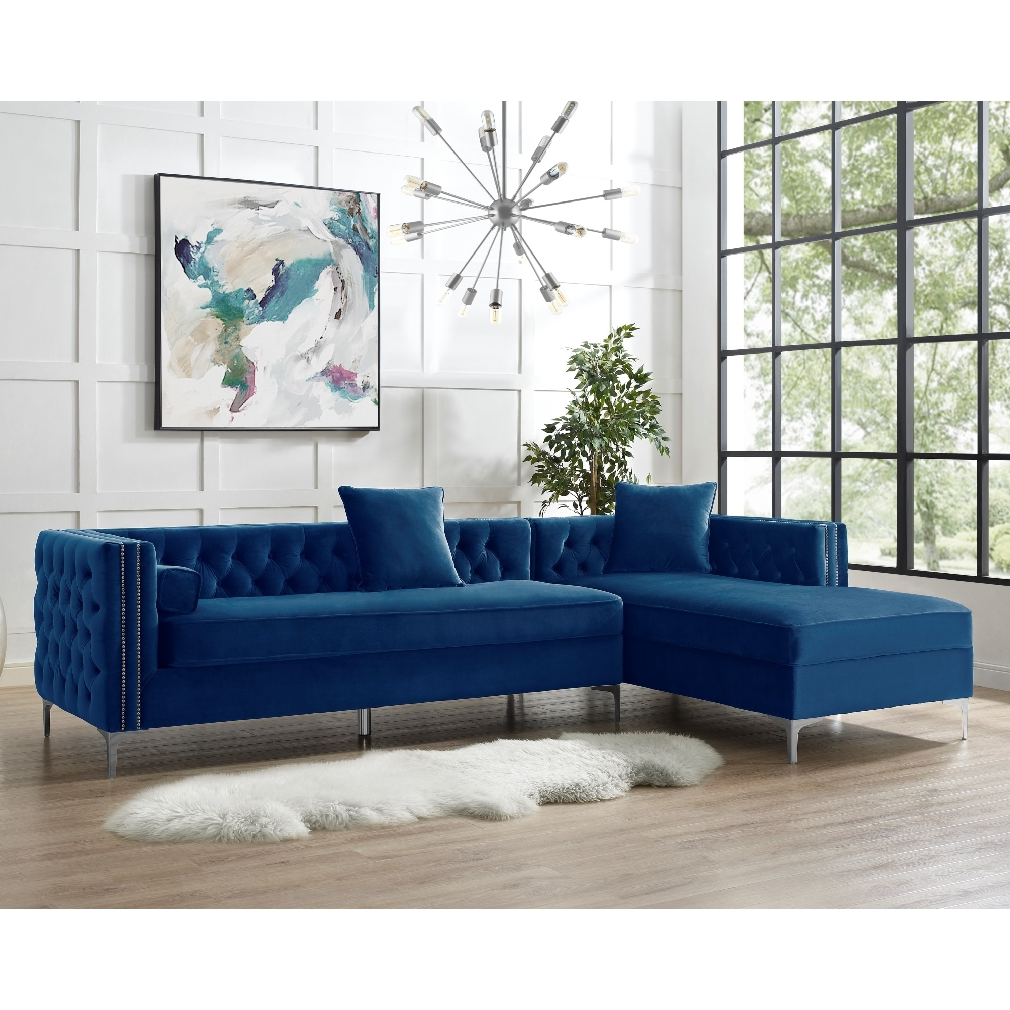 """Widely Used Monet Right Facing Sectional Sofas Intended For 115"""" Dante Velvet Button Tufted Left Facing Chaise (View 1 of 20)"""