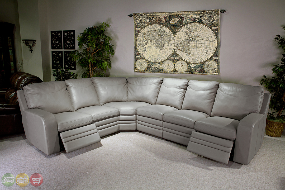 Widely Used Parker Living Steinbeck Gray Top Grain Leather Sectional For Noa Sectional Sofas With Ottoman Gray (View 20 of 20)