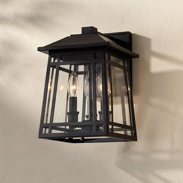 """Widely Used Roden Black 3 Bulb Outdoor Wall Lanterns Regarding East Ridge 13 1/4""""h Black Caged 3 Light Outdoor Wall Light (View 15 of 20)"""