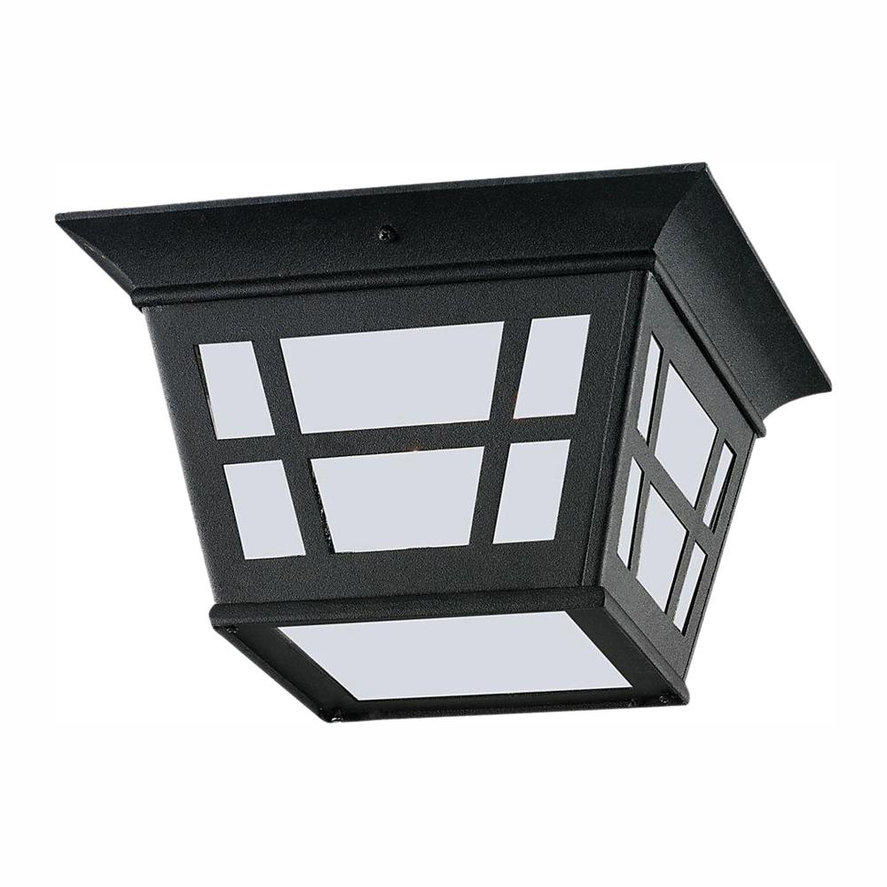 Widely Used Sea Gull Lighting Herrington Black 2 Light Outdoor Flush Regarding Whisnant Black Integrated Led Frosted Glass Outdoor Flush Mount (View 9 of 20)