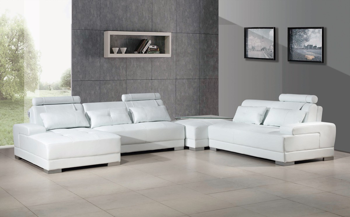 Widely Used Sectional Sofas In White Regarding Phantom Contemporary White Leather Sectional Sofa W/ottoman (View 11 of 20)
