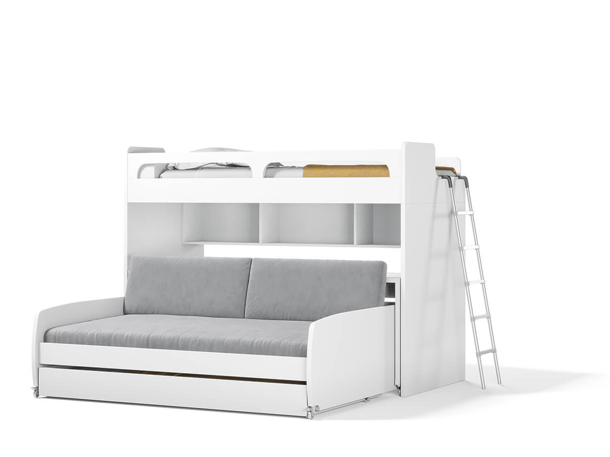 Widely Used Twin Nancy Sectional Sofa Beds With Storage Within Twin Bunk Bed Over Full Xl Sofa Bed, Desk And Trundle Bel (View 18 of 20)