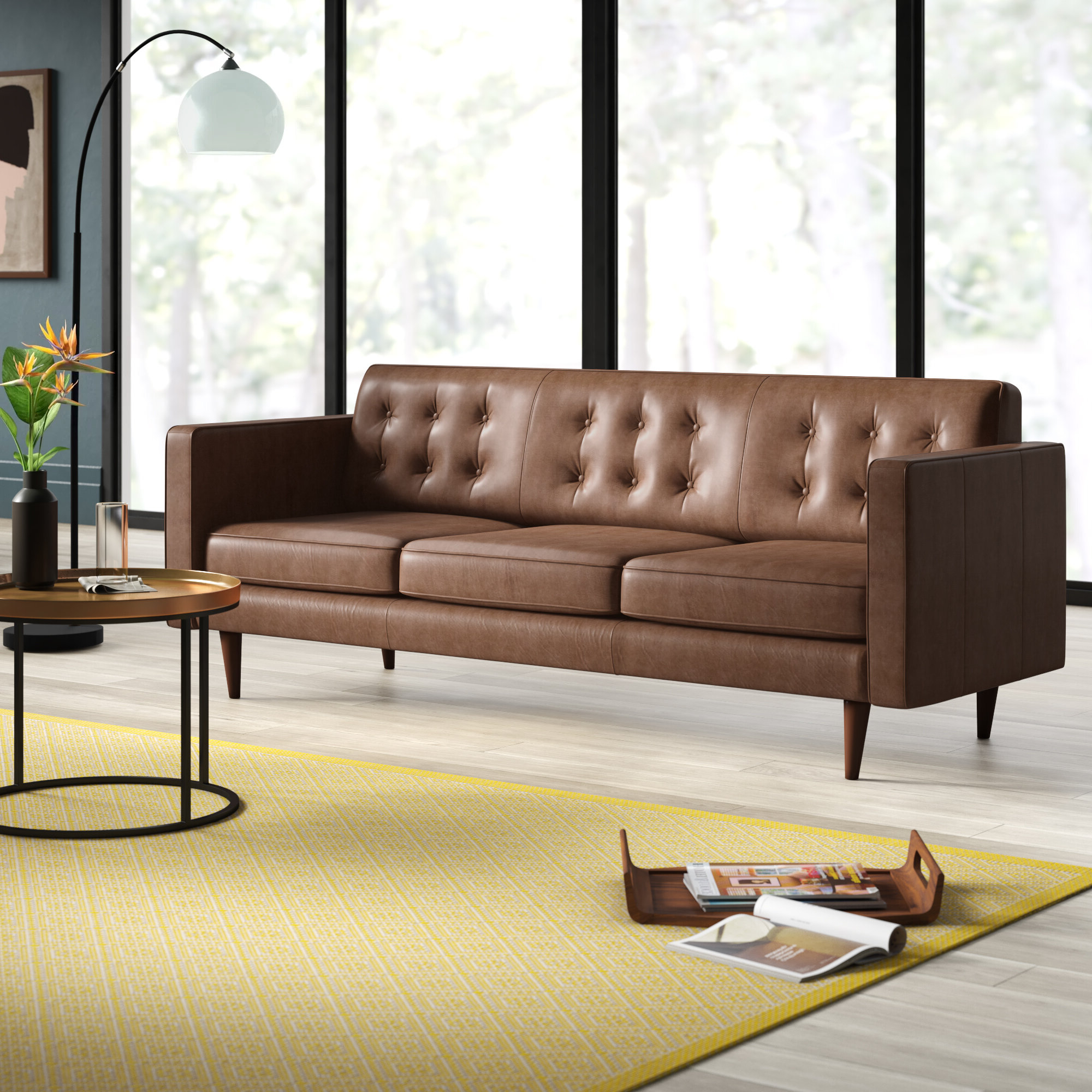 Widely Used Wood Chair Second: Leather Sofa Mid Century Modern Regarding Florence Mid Century Modern Right Sectional Sofas Cognac Tan (View 4 of 20)