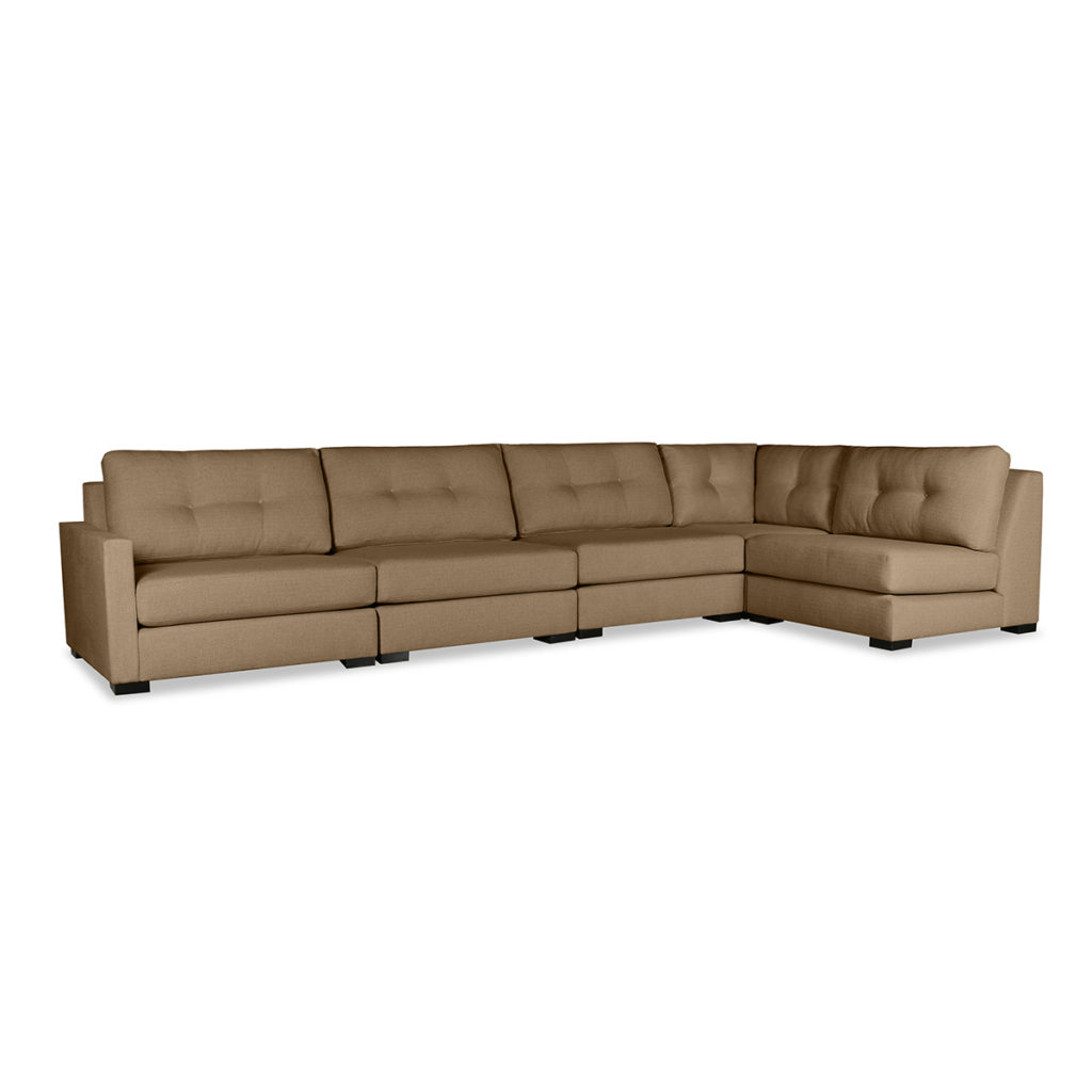 Wilton Buttoned Modular Left L Shape Sectional With Regard To Latest Wilton Fabric Sectional Sofas (View 2 of 20)