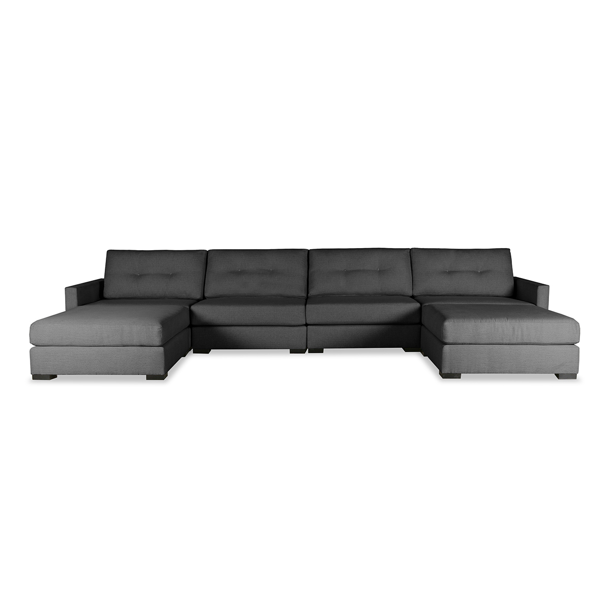 Wilton Fabric Sectional Sofas Within Well Known Wilton Buttoned Modular U Shape Double Chase Sectional (View 3 of 20)