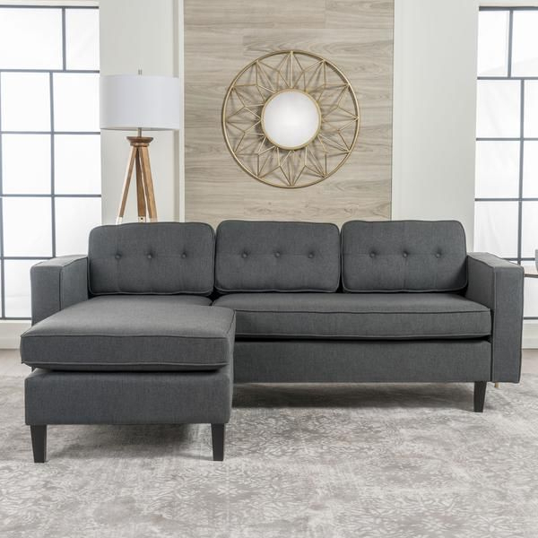 Windsor Mid Century 2 Piece Fabric Chaise Sectional Sofa Intended For 2019 Dulce Mid Century Chaise Sofas Light Gray (View 15 of 20)
