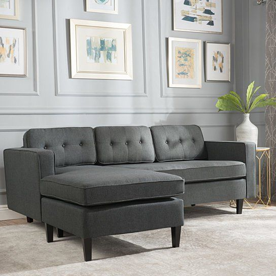 Windsor Mid Century 2 Piece Fabric Chaise Sectional Sofa With Most Recent 2pc Connel Modern Chaise Sectional Sofas Black (View 7 of 20)