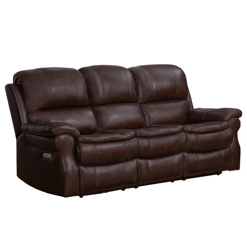 Winston Porter Ozell Leather Reclining 87 Inches Pillow Within 2019 Winston Sofa Sectional Sofas (View 17 of 20)
