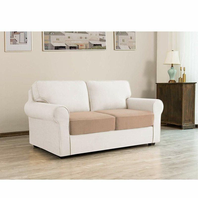 Winston Porter Stretch Textured Grid Box Cushion Loveseat Intended For Popular Camila Poly Blend Sectional Sofas Off White (View 5 of 20)