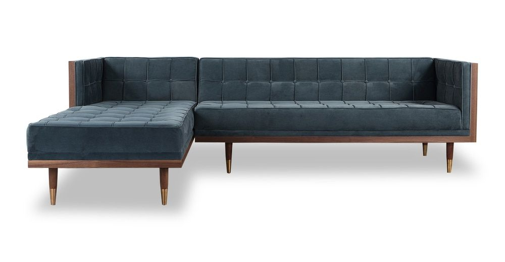 """Woodrow Box 100"""" Fabric Sofa Sectional Right, Walnut In Most Recently Released Florence Mid Century Modern Velvet Right Sectional Sofas (View 1 of 20)"""