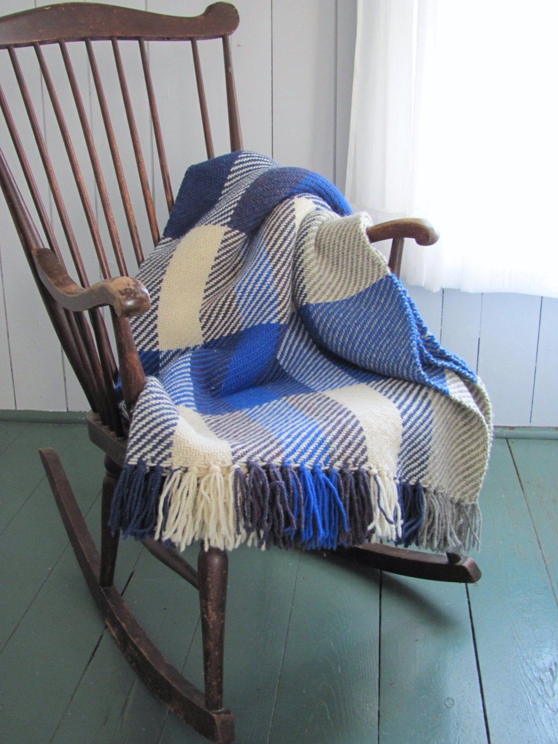 Wool Throw Blanket, Plaid Artisan Hand Woven Ocean Blue With Best And Newest Artisan Blue Sofas (View 13 of 20)
