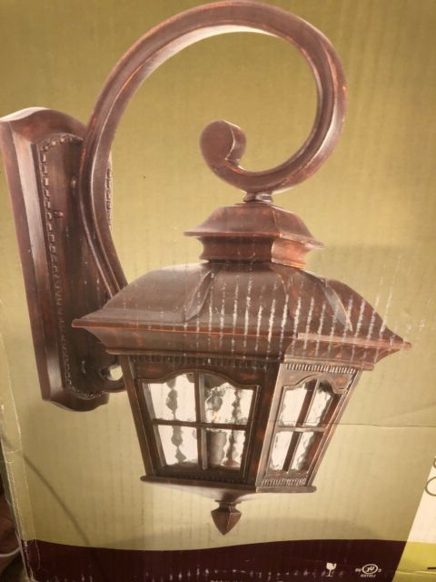 Wrentham Beveled Glass Outdoor Wall Lanterns For Preferred One Antique Rust Water Glass Portfolio Outdoor Wall (View 11 of 20)
