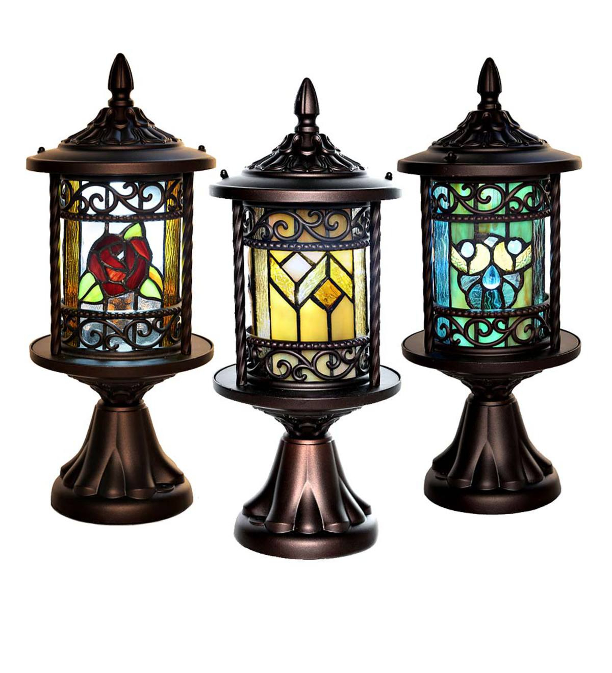 Wrentham Beveled Glass Outdoor Wall Lanterns With Regard To Most Popular Wireless Stained Glass Outdoor Lantern – Blue Shells (View 17 of 20)