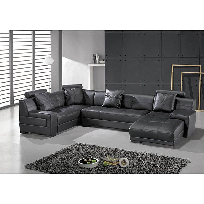 Wynne Contemporary Sectional Sofas Black With Well Known Shop Houston Black Leather 3 Piece Sectional Set – Free (View 7 of 20)