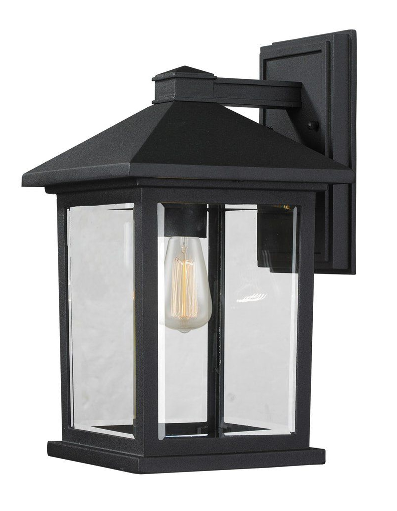Z Lite 531m Bk Portland 1 Light 14 Inch Black Outdoor Wall Throughout Most Recent Gillian Beveled Glass Outdoor Wall Lanterns (View 16 of 20)