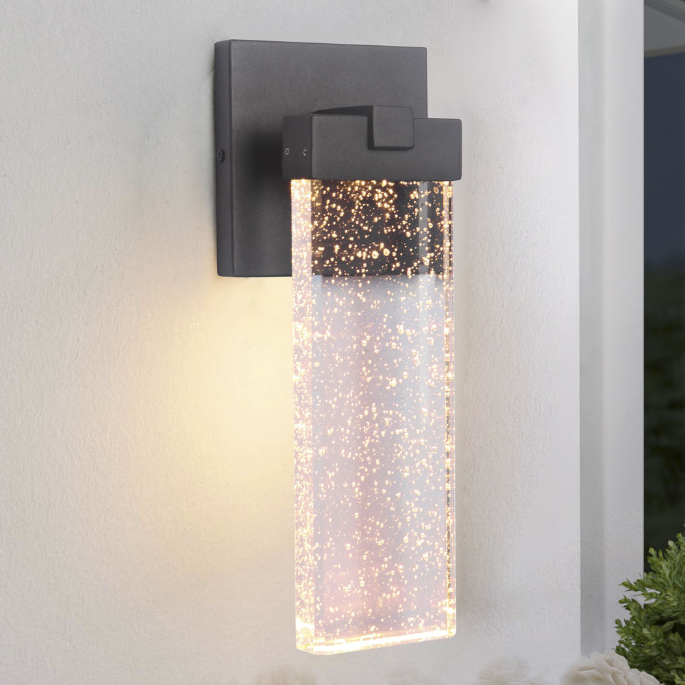 Seeded Glass Led Outdoor Wall Light Black Craftmade Lighting At Destination Lighting (View 2 of 5)