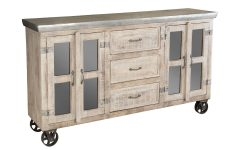 White Wash 4-door Galvanized Sideboards