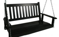 2-Person Black Wood Outdoor Swings