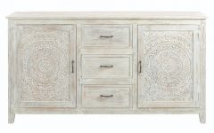 3-Drawer/2-Door White Wash Sideboards