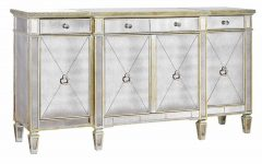 Aged Mirrored 4 Door Sideboards